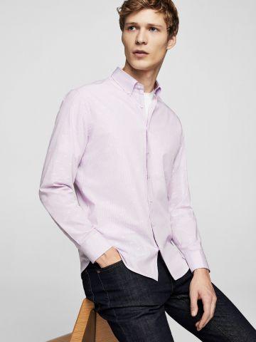 חולצה מכופתרת בהדפס פסים ועיטורי רקמה