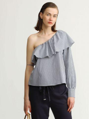 חולצת כתף חשופה בהדפס פסים