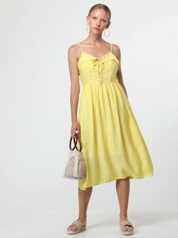 שמלת מידי עם קשירות איקסים בחזית