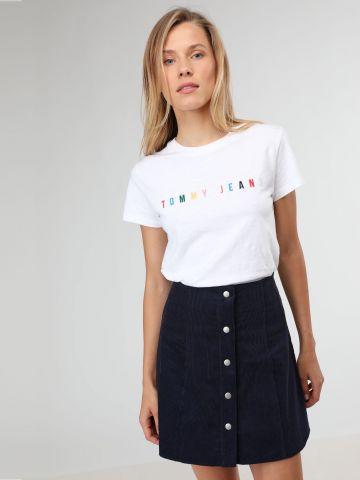 חצאית קורדורוי מיני עם כפתורי רכיסה