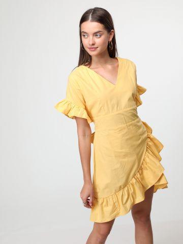 שמלת מיני מלמלה עם קשירת פפיון מאחור