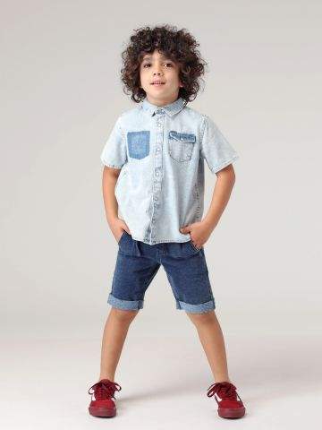 מכנסי טרנינג קצרים דמוי ג'ינס
