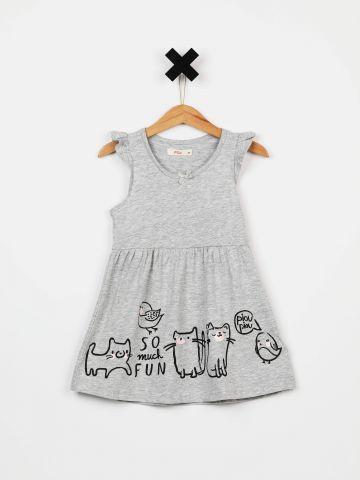 שמלת פפלום עם עיטורי מלמלה ופפיון / בייבי בנות