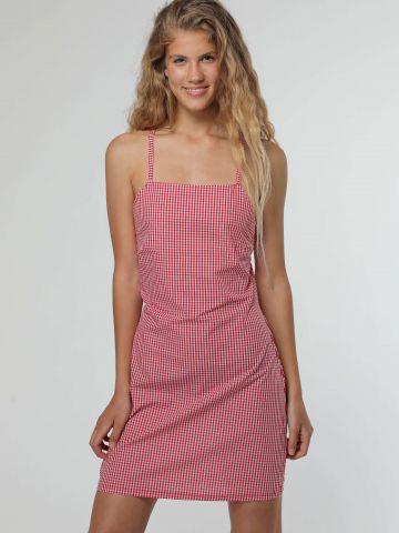 שמלת מיני משבצות עם קשירות בגב