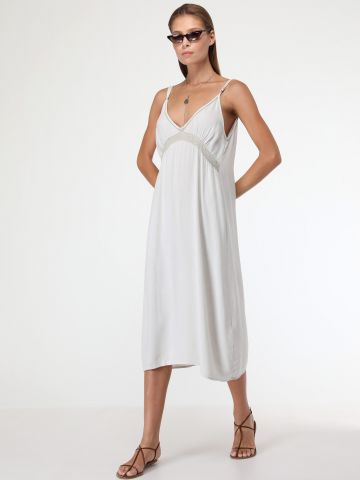 שמלת סליפ מידי עם עיטורי קרושה