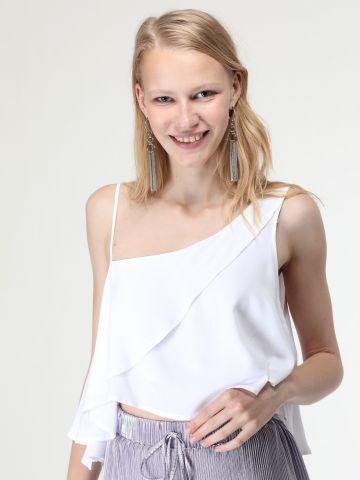 חולצת וואן שולדר עם עיטורי מלמלה וגב פתוח
