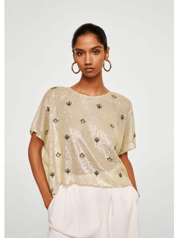 חולצת אוברסייז פאייטים עם עיטורי חרוזים