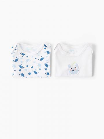 מארז 2 בגדי גוף עם הדפס