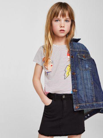 חצאית ג'ינס עם סיומת פרומה / בנות
