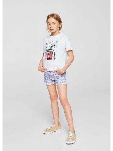 מכנסי ג'ינס קצרים עם הדפס