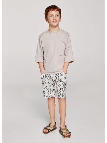 מכנסי ברמודה בהדפס מקושקש / בנים