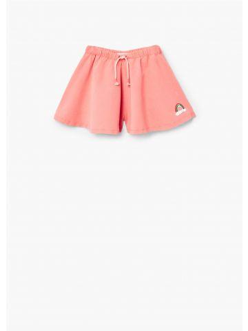 מכנסיים קצרים מתרחבים עם פאץ' קשת בענן