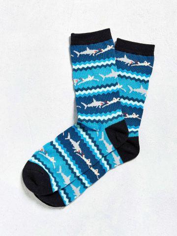 גרביים בהדפס כרישים UO / גברים
