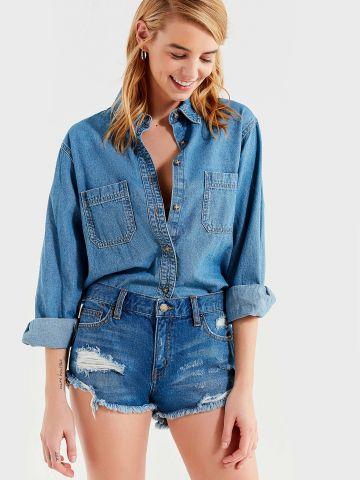 ג'ינס קצר בגזרת Boyfriend עם קרעים BDG