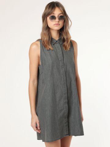 שמלה מכופתרת ג'ינס אסיד ווש