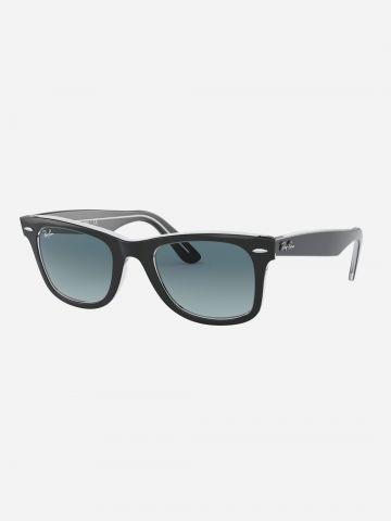 משקפי שמש מלבניים עם מסגרת פלסטיק Wayfarer / גברים