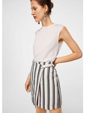 חצאית מעטפת בהדפס פסים