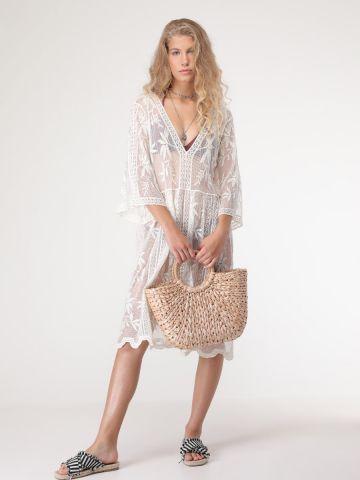 שמלת חוף תחרה שקופה