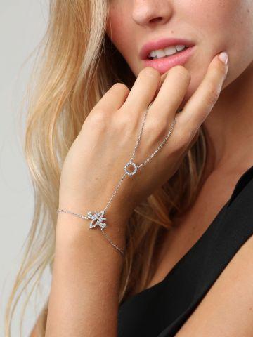 צמיד טבעת כסף בשילוב עיטורים