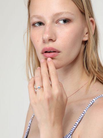 טבעת עין רוז גולד בציפוי אמייל