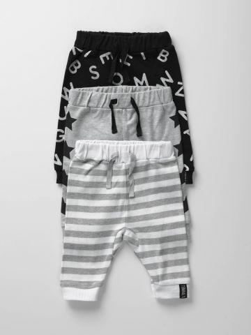 מארז 3 מכנסיים ארוכים בהדפסים שונים / בייבי