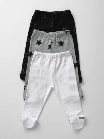 מארז 3 מכנסיים עם רגליות בהדפס כוכבים / בייבי