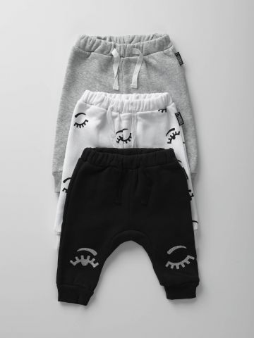 מארז 3 מכנסי טרנינג פוטר בהדפסים שונים / בייבי בנות
