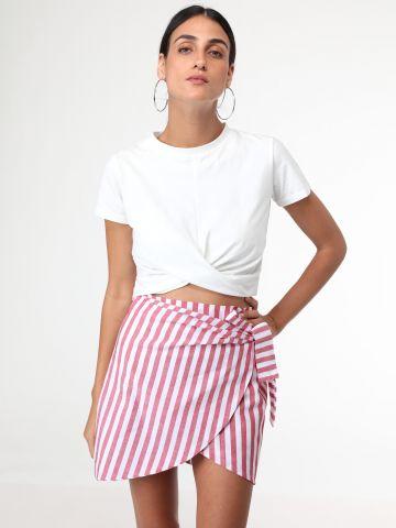 חצאית מיני פסים מעטפת
