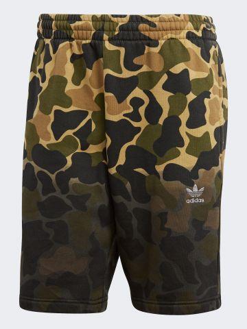 מכנסי טרנינג קצרים קמופלאז' לוגו