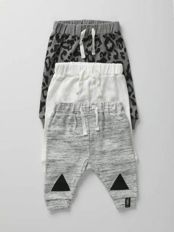 מארז 3 מכנסי טרנינג בהדפסים שונים / בייבי