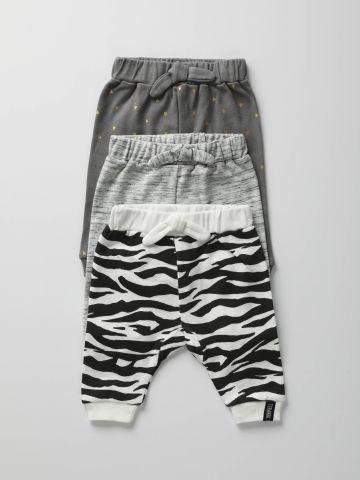 מארז 3 מכנסיים ארוכים בהדפסים שונים / בייבי בנות