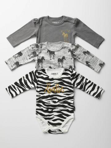 מארז 3 בגדי גוף בהדפסי זברות / בייבי בנות
