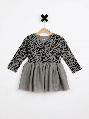 שמלת בגד גוף בהדפס מנומר עם חצאית טול / בייבי בנות