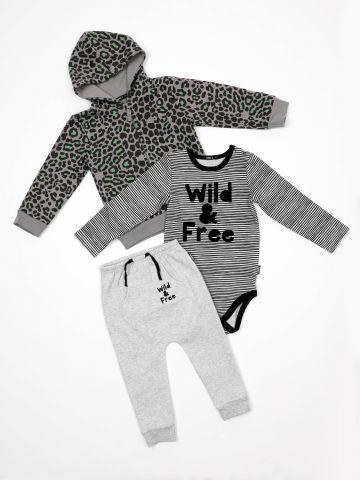 חליפת גן 3 חלקים Wild & Free / בייבי בנות