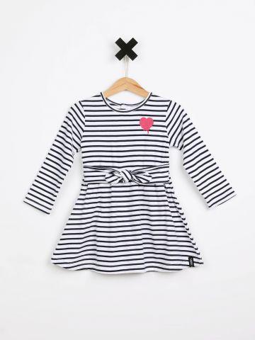 שמלת פסים עם הדפס לב / בייבי בנות