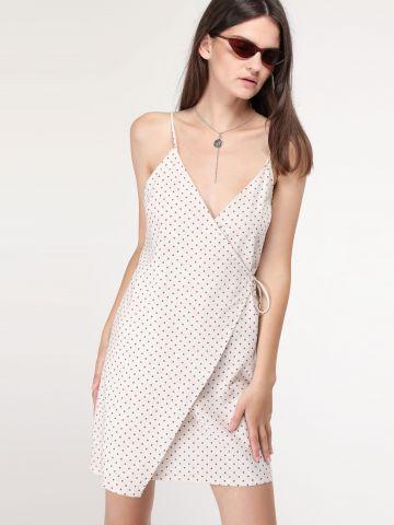 שמלת פשתן מעטפת נקודות