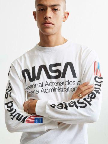 טי שירט שרוולים ארוכים עם הדפס NASA