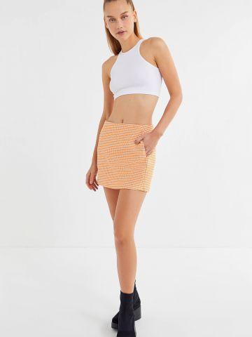 חצאית מיני בהדפס משבצות עם כיסים Cooperative