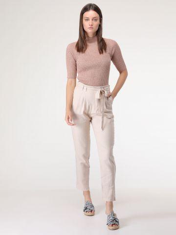 מכנסי פשתן ארוכים עם חגורת קשירה