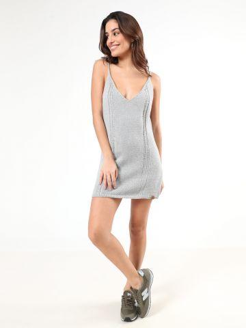 שמלת מיני סרוגה עם כתפיות קשירה