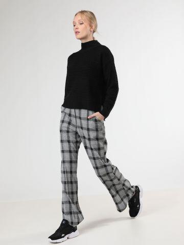 מכנסיים מתרחבים בהדפס משבצות