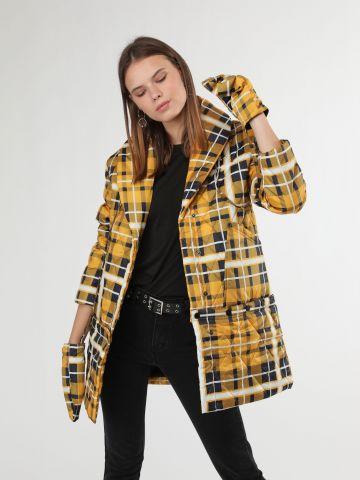 מעיל קווילט ארוך בהדפס משבצות