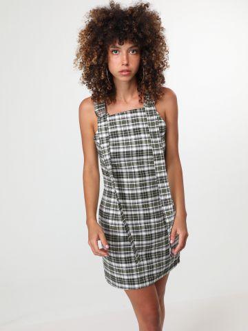 שמלת מיני משבצות עם רצועות בחזית