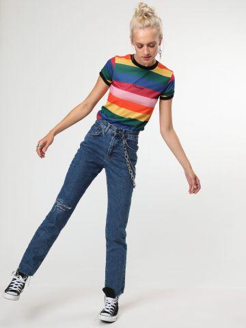 ג'ינס לוגו בגזרה ישרה עם שרשראות