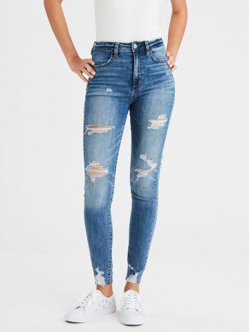 ג'ינס סקיני בגזרה גבוהה עם קרעים Super Stretch X