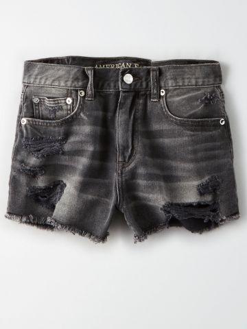 ג'ינס קצר בשטיפה כהה עם קרעים Hi Rise Festival