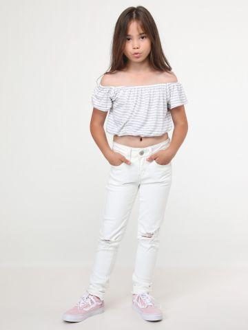 ג'ינס סקיני בעיטורי קרעים Cream Raw Edge
