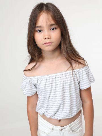 חולצת אוף שולדרס בהדפס פסים