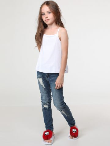 ג'ינס סקיני בעיטור שפשופים Destroyed