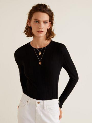 חולצת סריג בשילוב קשמיר בטקסטורת פסים